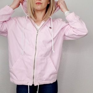 Levi's Pink Full Zip Up Cotton Hooded Track Jacket